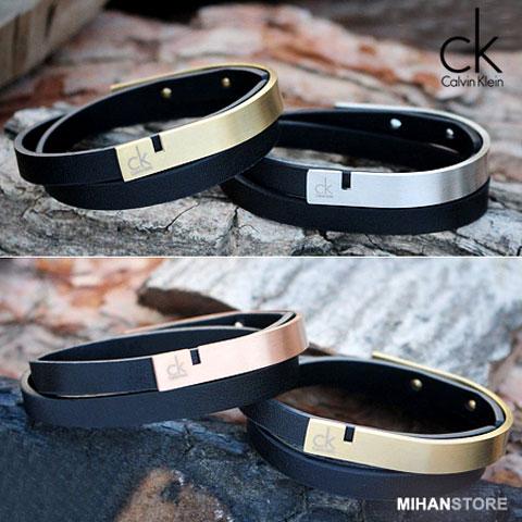 خرید دستبند چرم و استیل طرح CK