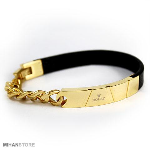 خرید دستبند چرم و استیل رولکس Rolex